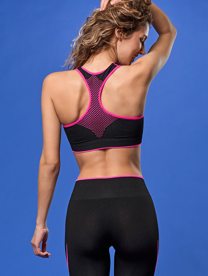 TOP FITNESS NERO FUXIA