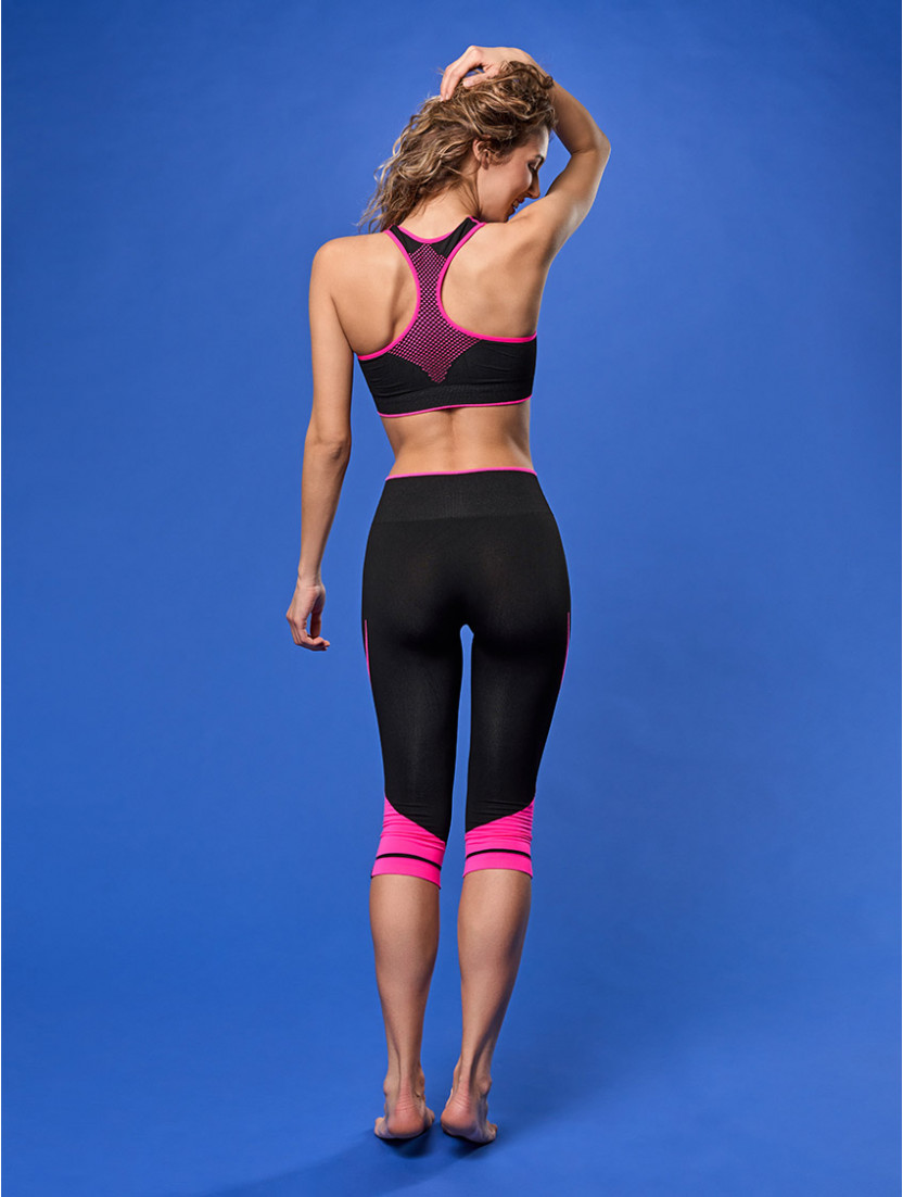 LEGGINGS MEDIO FITNESS NERO FUXIA