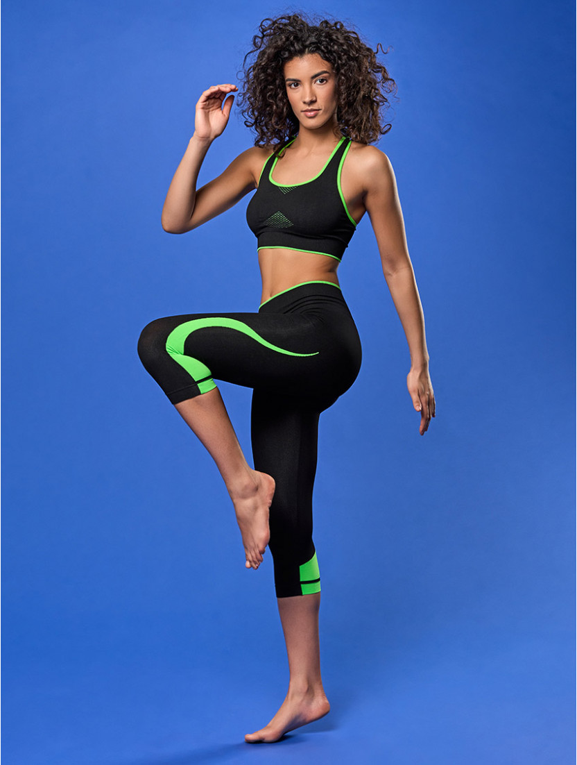 LEGGINGS MEDIO FITNESS NERO VERDE