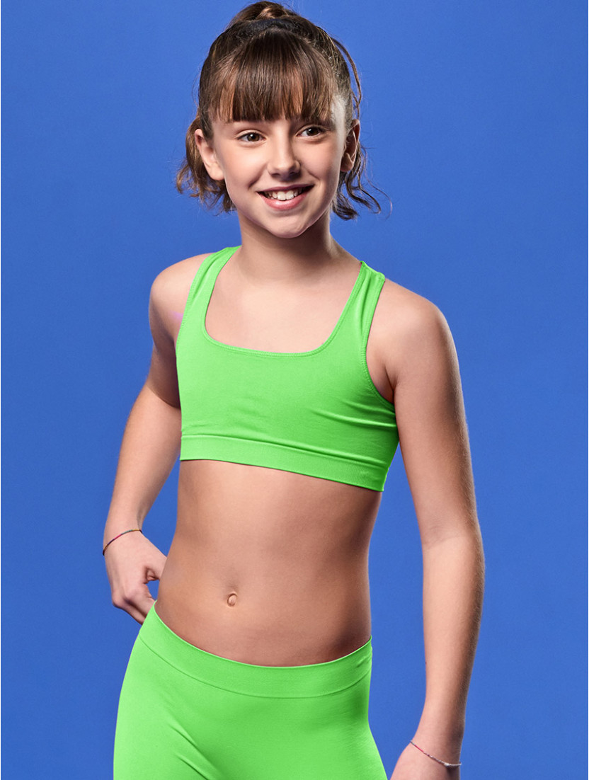 TOP GYM BIMBA VERDE FLUO'