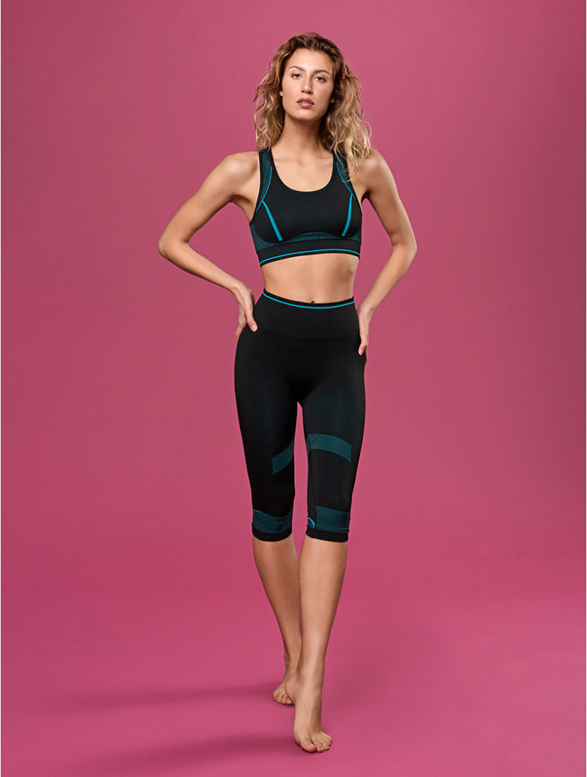 LEGGINGS MEDIO BREEZE NERO/SMERALDO