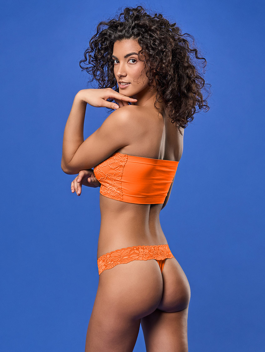 STRING DAMEN SPITZE IN ORANGE FLUO'