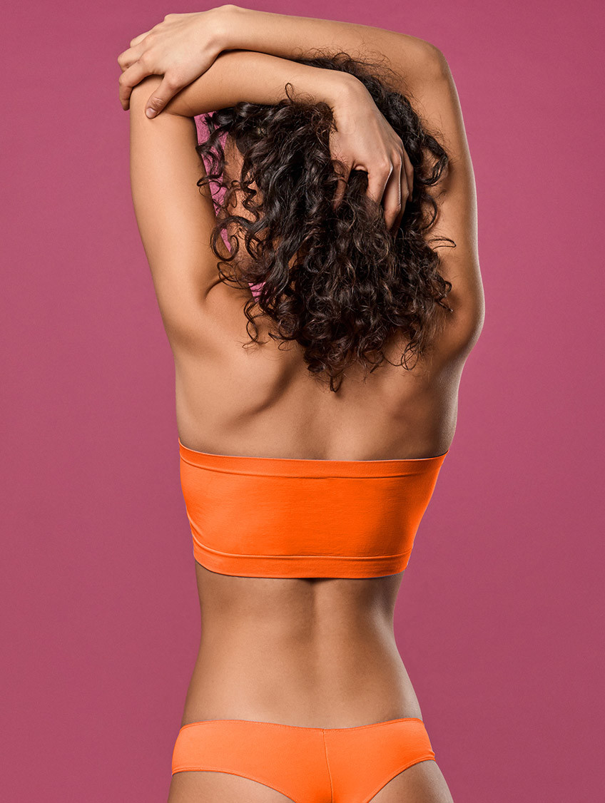 KURZES BANDEAU-TOP ORANGE FLUO'