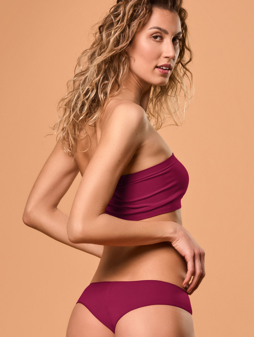 KURZES BANDEAU-TOP BORDEAUX