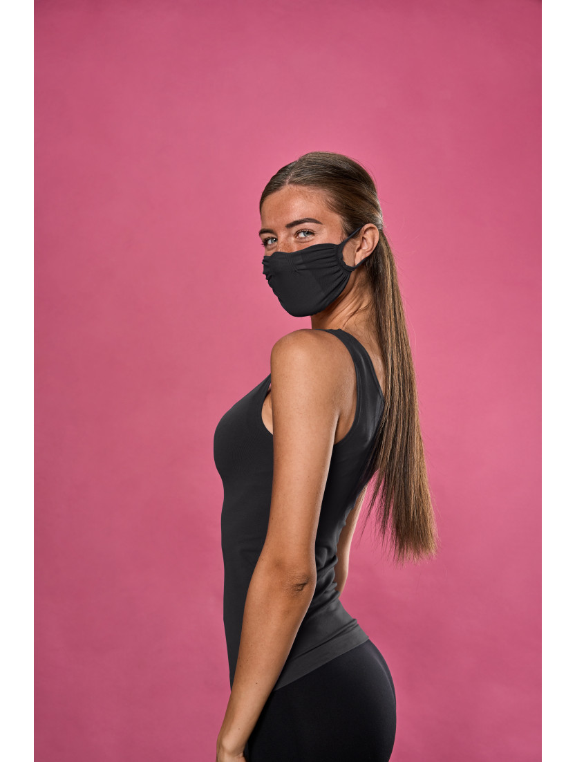 ADJUSTABLE REUSABLE FACE MASK Q-SKIN BLACK