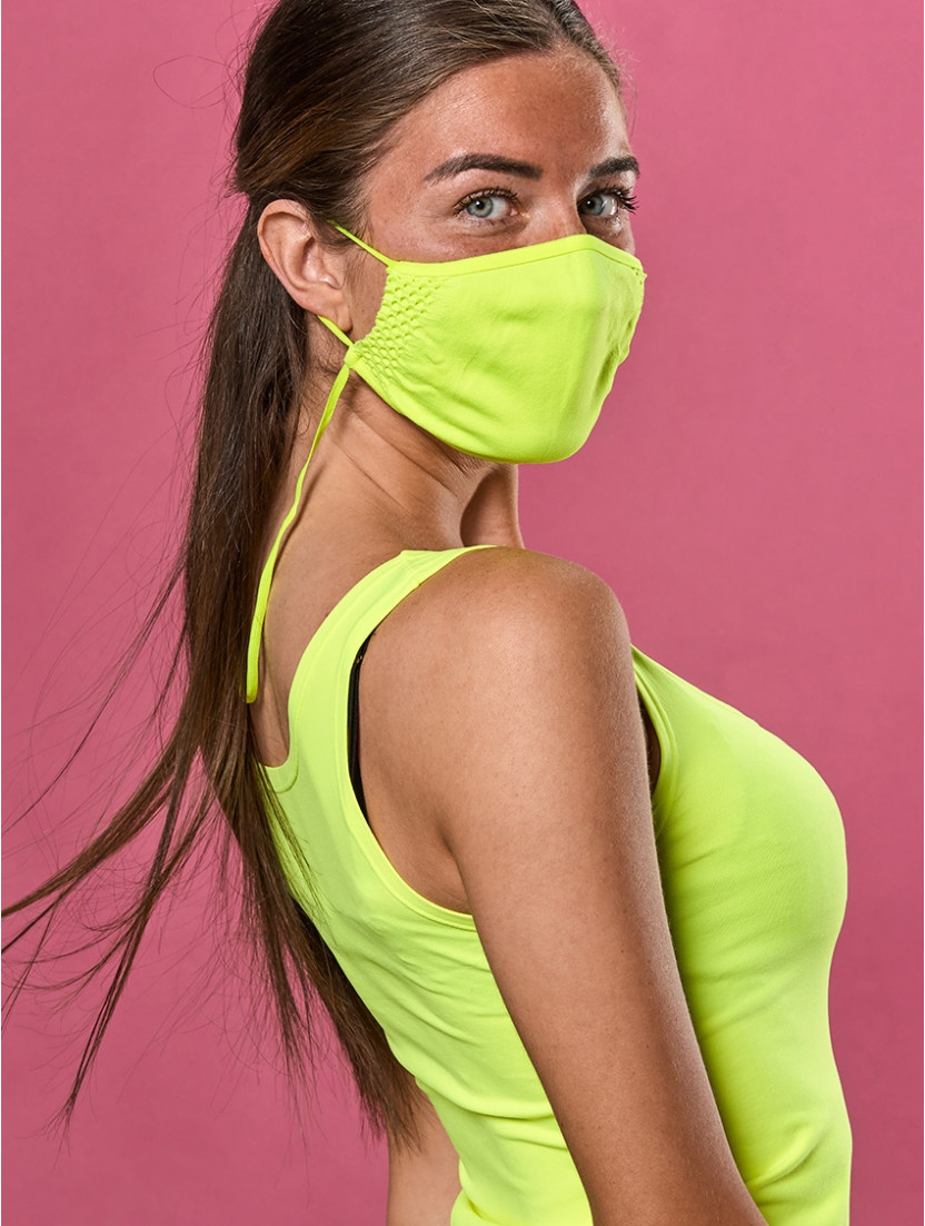 ADJUSTABLE REUSABLE FACE MASK YELLOW FLUORESCENT