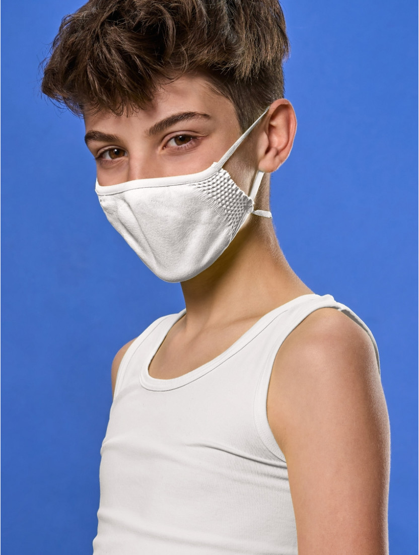 ADJUSTABLE REUSABLE FACE MASK KIDS WHITE