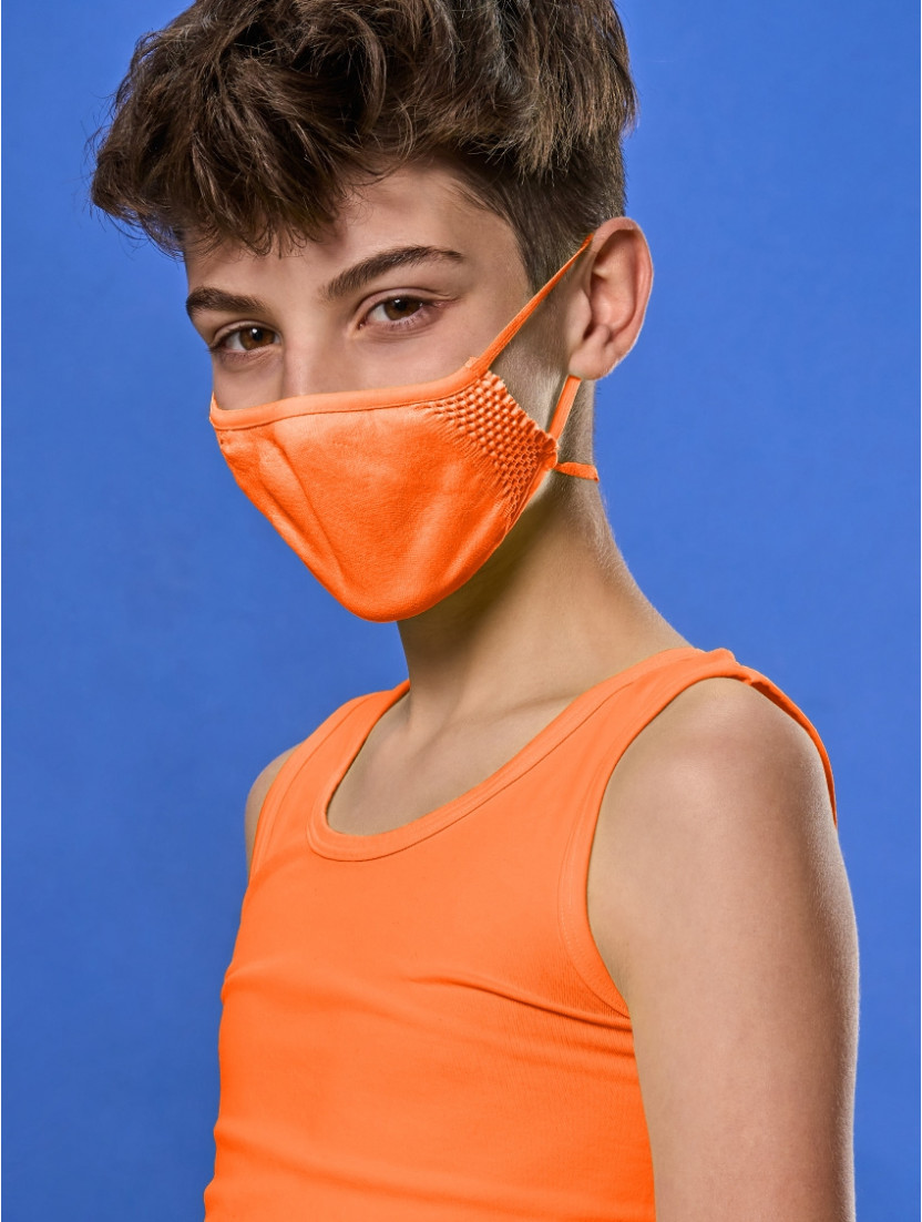 ADJUSTABLE REUSABLE FACE MASK KIDS ORANGE FLUO
