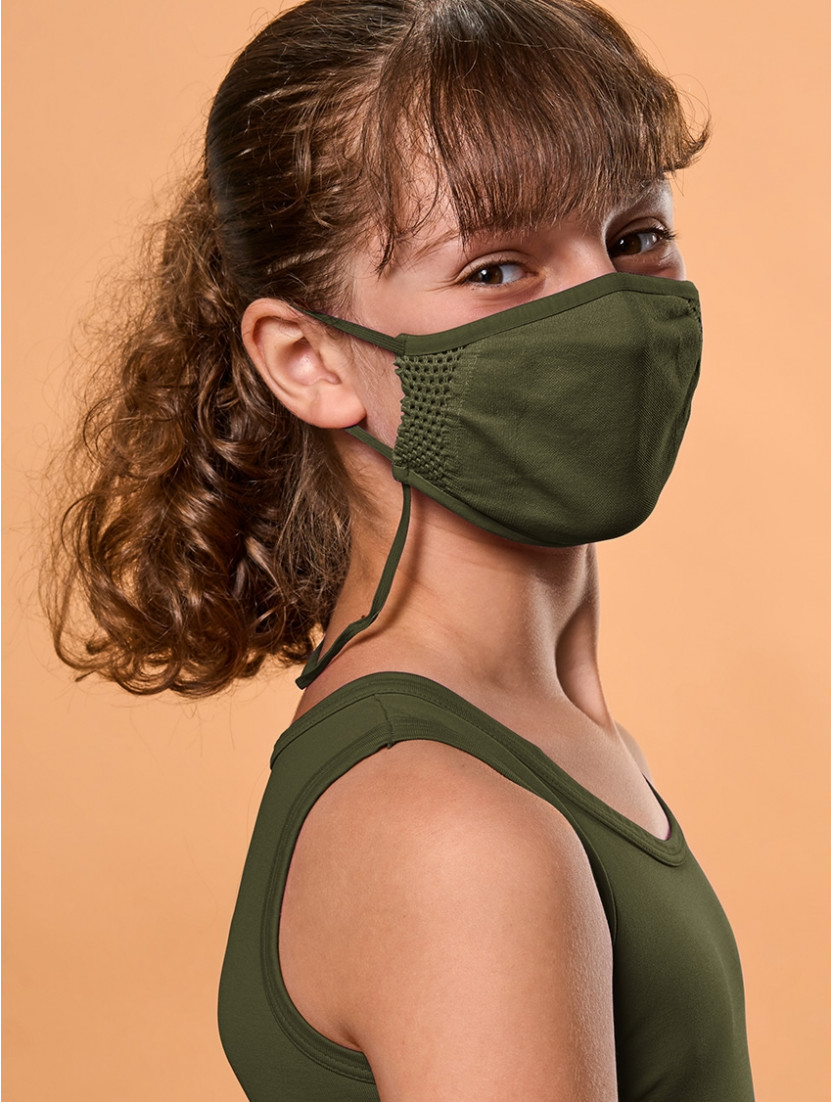 ADJUSTABLE REUSABLE FACE MASK KIDS GREEN MILITARY
