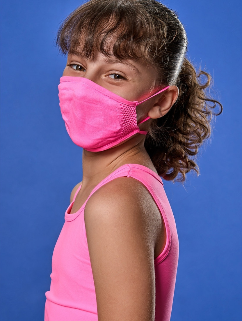 ADJUSTABLE REUSABLE FACE MASK KIDS FUCHSIA FLUO