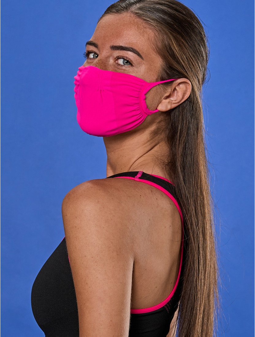 ADJUSTABLE REUSABLE FACE MASK Q-SKIN FUCHSIA FLUORESCENT