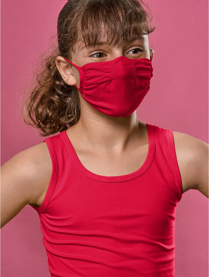 ADJUSTABLE REUSABLE FACE MASK Q-SKIN KIDS RED