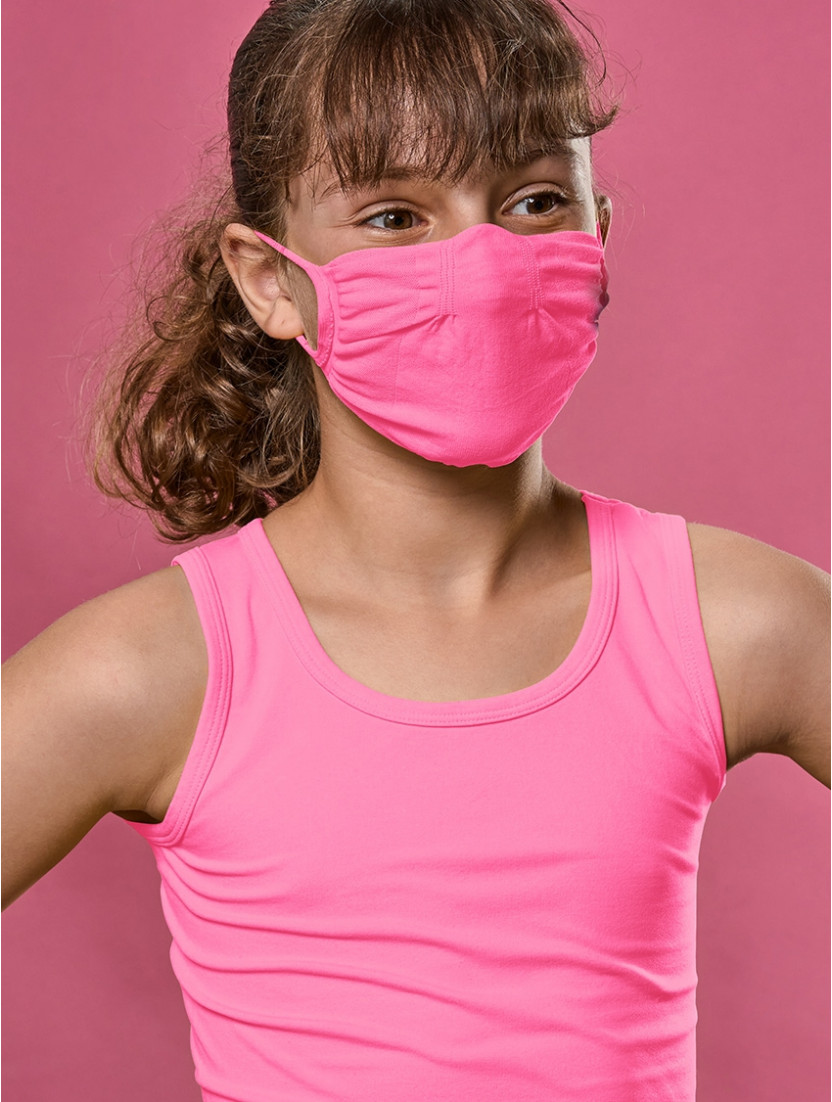 ADJUSTABLE REUSABLE FACE MASK Q-SKIN KIDS FUXIA FLUO'