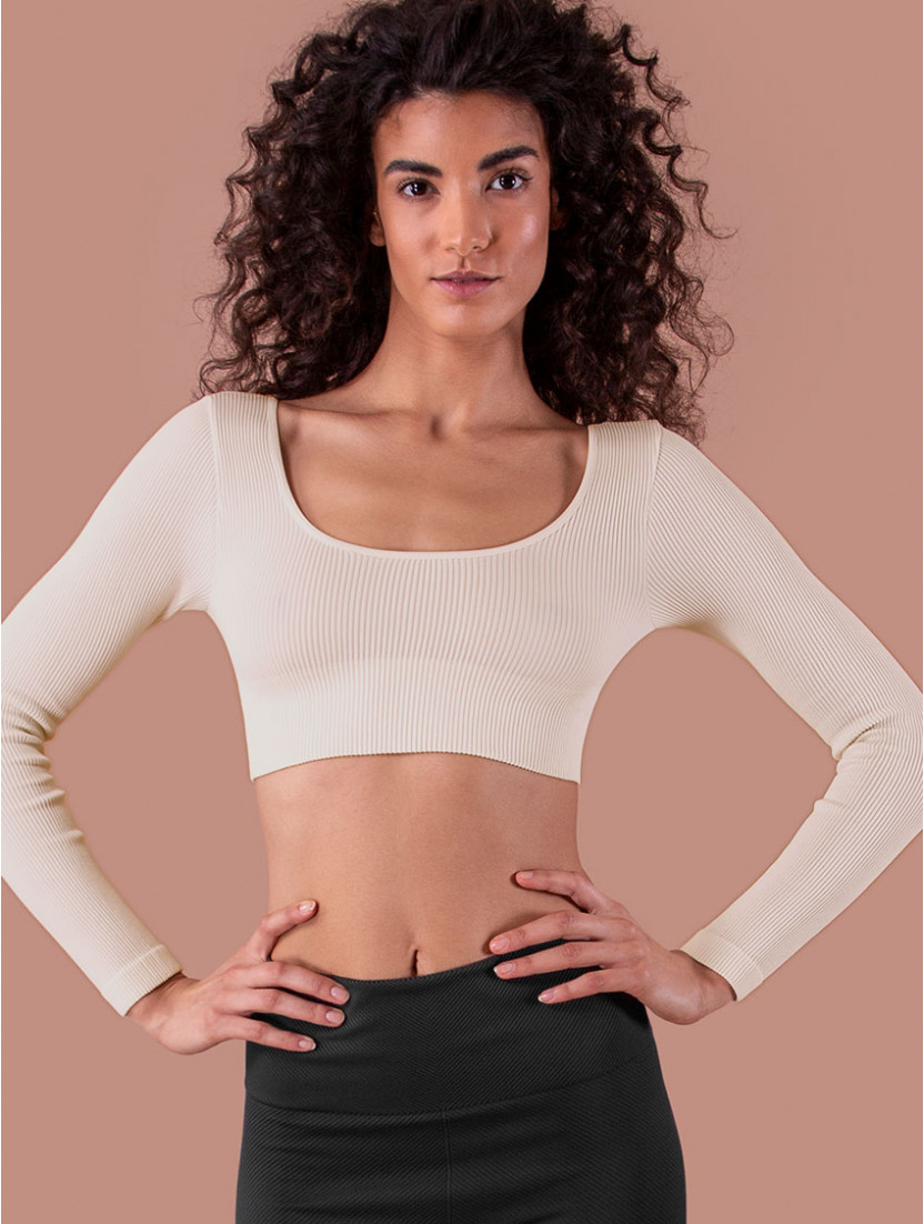 LONG RIB SLEEVE TOP IVORY