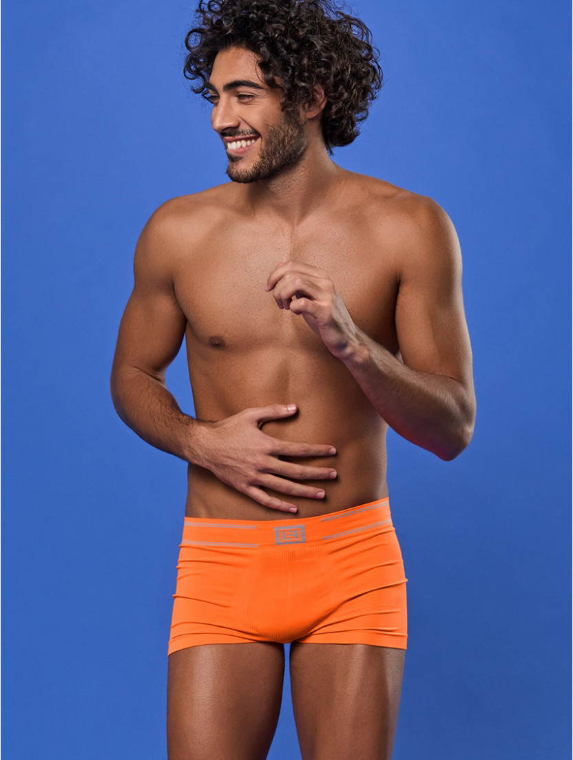HERRENBOXERSHORTS SCHLICHT ORANGE FLUO'